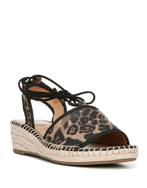 leopard sandals franco sarto liona leopard print wedge sandals in brown lyst