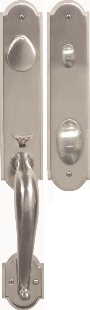 san francisco solid brass entry door handle set in nickel
