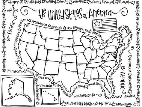 free united states map coloring pages