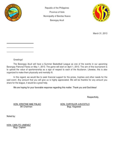Letter For Basketball League Sle Of Solicitation Letter
