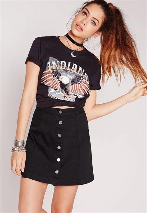 a line button through denim skirt black missguided