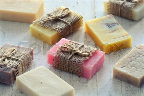 Handmade Soap Images - collection of handmade soap on wooden background stock