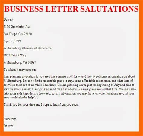 Business Letter Salutations Template image gallery professional salutations