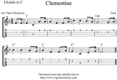 printable sheet music for ukulele clementine free easy ukulele tab sheet music