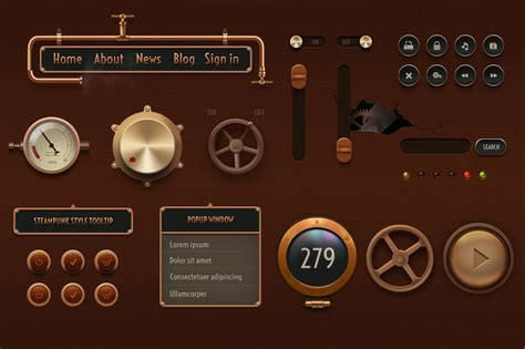 vintage gui elements retina ready web elements