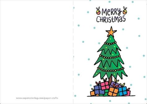 Merry Christmas Card With Presents And Christmas Tree Free Printable Photo Cards Templates 2