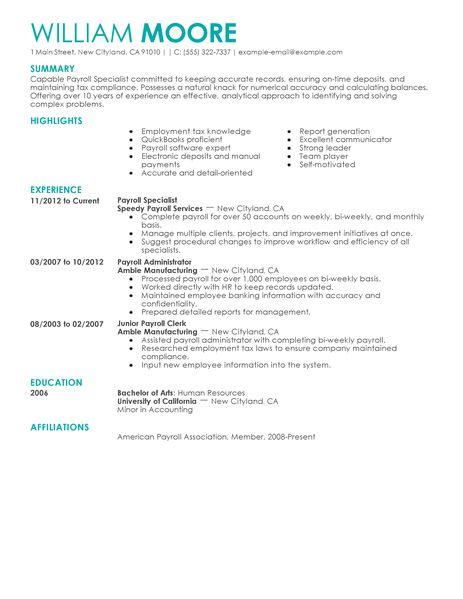 Payroll Specialist Resume by Best Payroll Specialist Resume Exle Livecareer