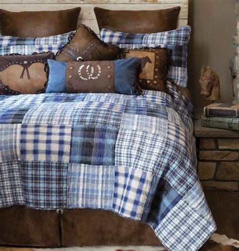 Cowboy Denim Plaid Quilt Bedding Collection