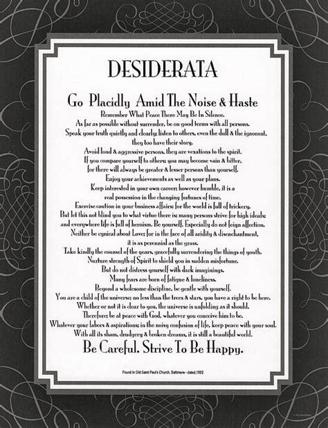 printable version desiderata the desiderata poem by max ehrmann careful church version