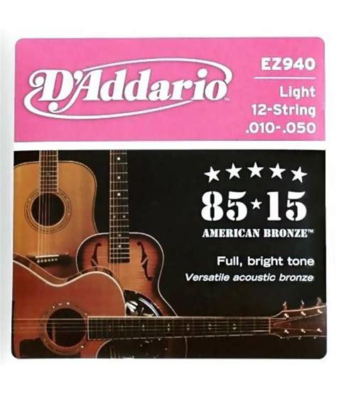 best light acoustic guitar strings d addario ez940 12 string 85 15 bronze light acoustic guitar strings buy d addario ez940 12