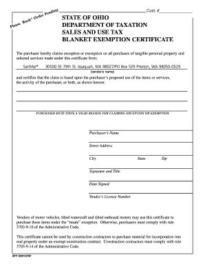 Blanket Exemption Certificate Ohio by 769a Ohio State Tax Exempt Form Fill Printable