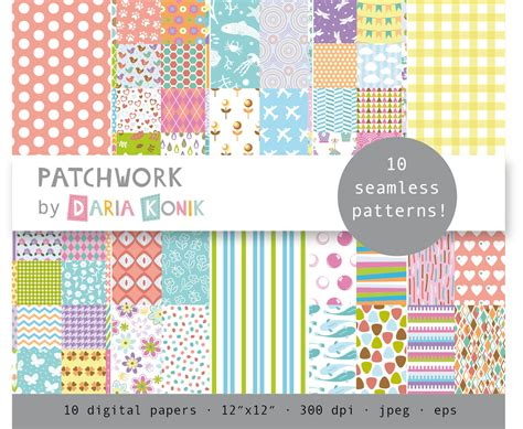 Paper Patchwork - patchwork digital paper pack 10 papers various patterns