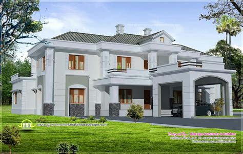 luxury colonial style home design with court yard kerala