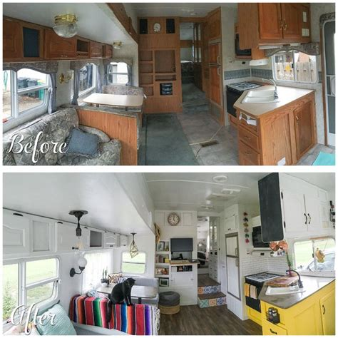 the rv remodel a before and after photo of a cer renovation the main