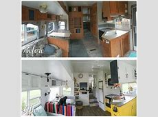a before and after photo of a camper renovation the main ... 25 Foot Camper