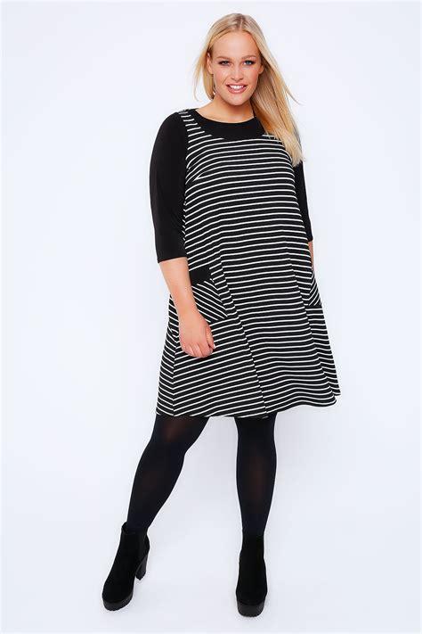 swing style dress black white stripe pinafore style swing dress plus size