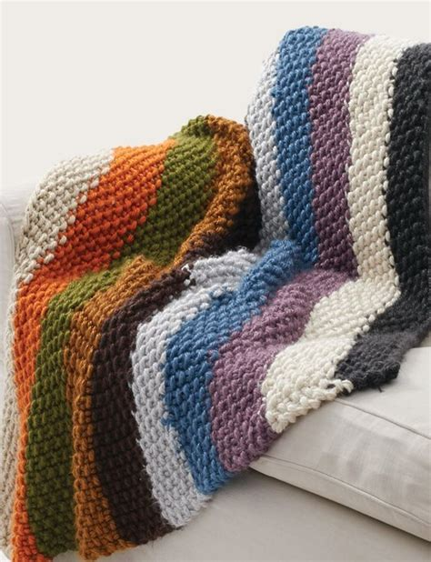 bernat afghan knitting patterns bernat seed stitch blanket cozy chunky rainbow striped