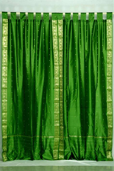 forest green drapes forest green tab top sheer sari curtain drape panel