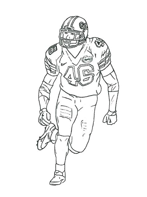 coloring page of a football player football player coloring pages free printable football