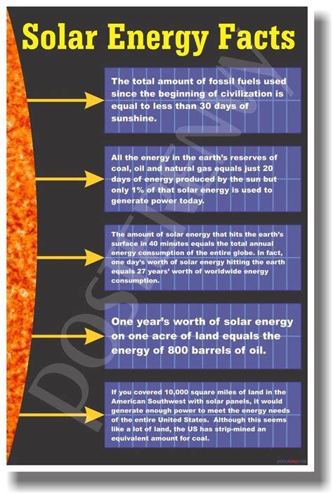 Solar L Information solar energy facts new classroom science poster ebay