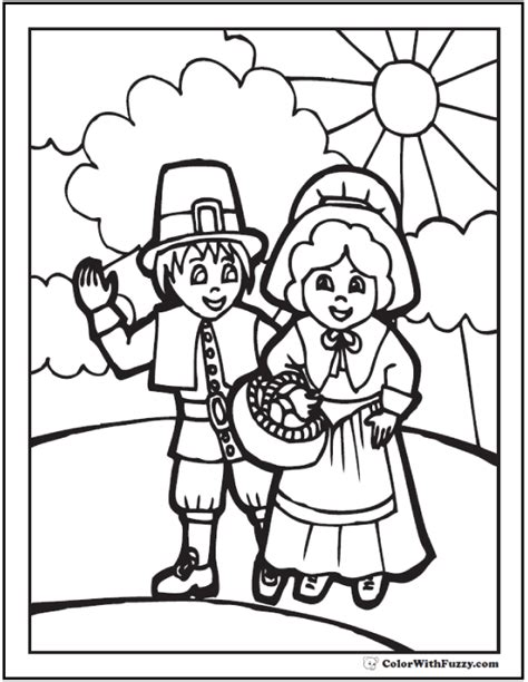 printable thanksgiving coloring pages pdf thanksgiving coloring page pilgrims with basket