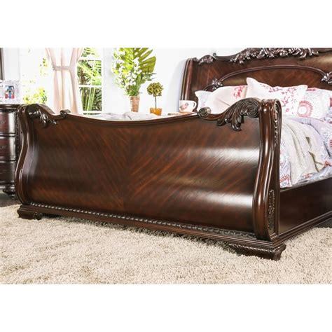 shop furniture of america bellefonte brown cherry queen sleigh bed furniture of america helvetta queen sleigh bed in brown
