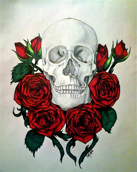 skull and roses by jupiterstone on deviantart