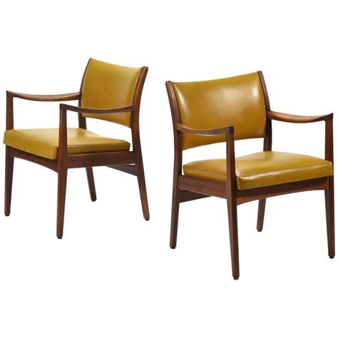 pair of walnut armchairs by johnson chair co for sale at