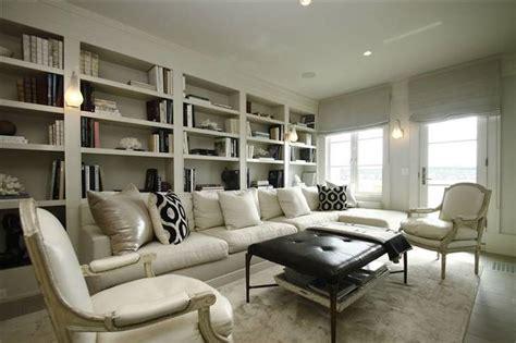 Bergere Sofa Built In Bookshelves Transitional Den Library Office