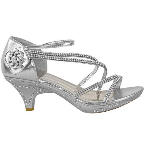 Heel Sandals For Wedding by Womens Low Heel Diamante Bridal Wedding Sandals