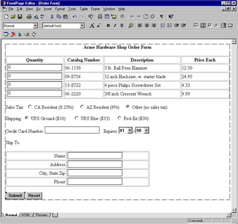 design form order using frontpage to design an order form