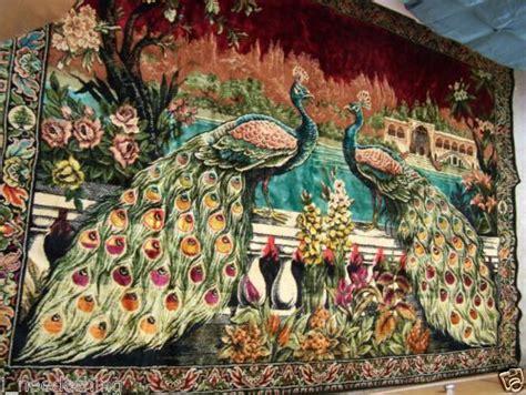 large vintage tapestry deep rich velvet peacocks lebanon