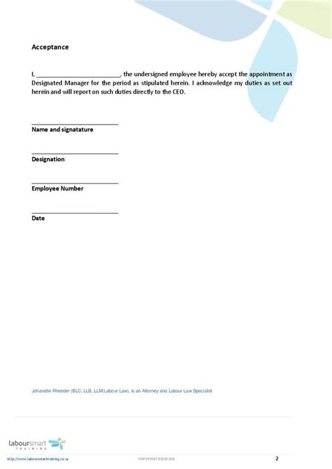 appointment letter template south africa letter template
