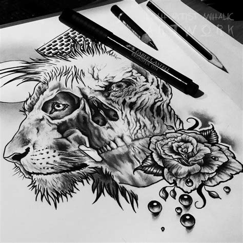 lion skull rose pearls moon tattoo design wip by