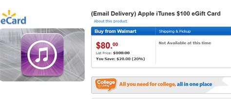 Itunes E Gift Cards - itunes 100 egift card for 80 at walmart iphoneness