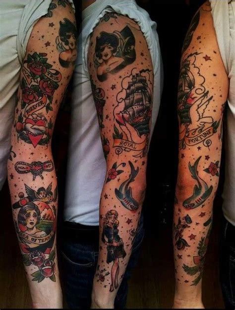 new school vibrant sleeve tattoos black line studio traditional traditional tattoos pinterest