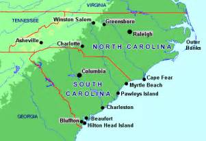 map of the carolinas and direct services courier services