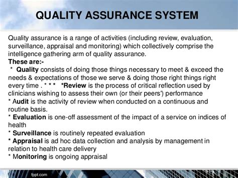 quality assurance objective statement quality assurance in hospitals