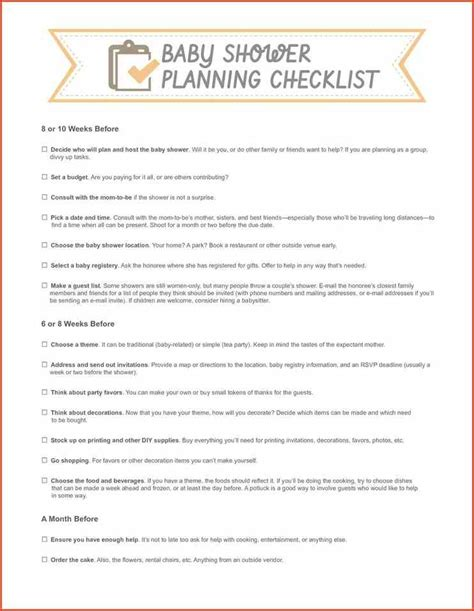 Checklist For Baby Shower by 24 Helpful Baby Shower Checklists Baby
