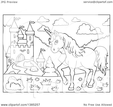 unicorn castle coloring page clipart of a black and white lineart unicorn near a castle