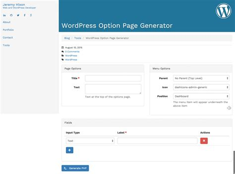Theme Options Generator | wordpress how to create a theme option page quickly noupe