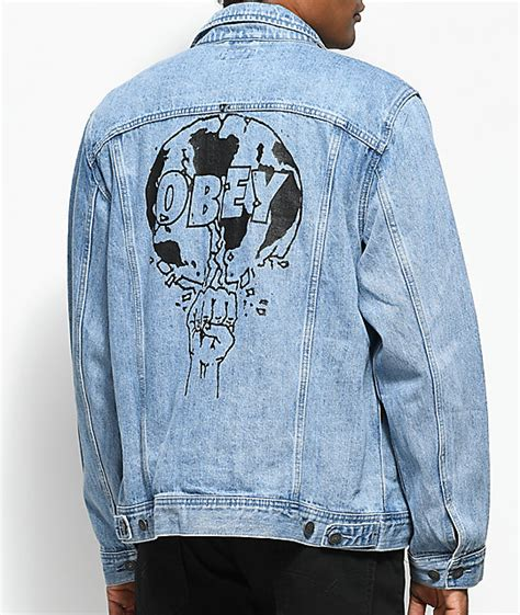 light blue denim jacket obey vicious light blue denim jacket zumiez