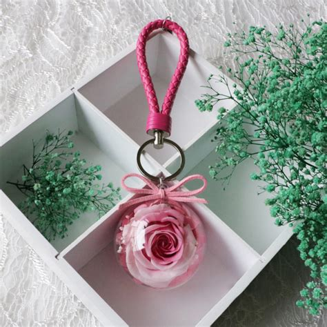 Bloom Box Big Pink Preserved Flower Best For Gift preserved flower key chain apollobox