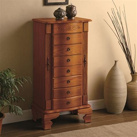 Hardwood Jewelry Armoire by Coaster 4014 Brown Wood Jewelry Armoire A Sofa