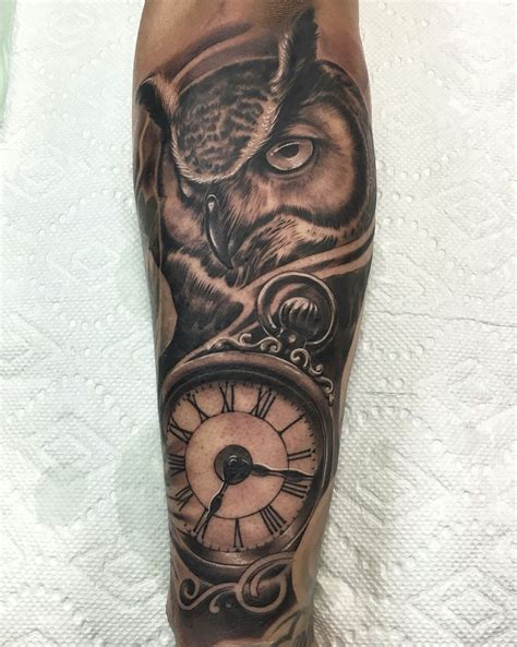 owl clock tattoo best owl clock tattoos idea work by rods