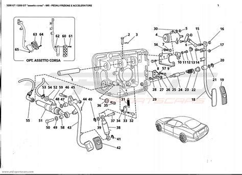 maserati parts catalog maserati 3200 gt clutch and accelerator pedals parts at