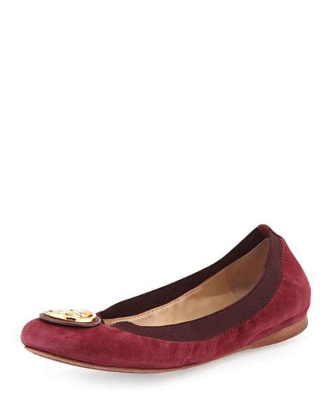 Ready Tb Caroline Flat Shoes Burch Caroline Suede Ballerina Flat Cabernet Bordeaux