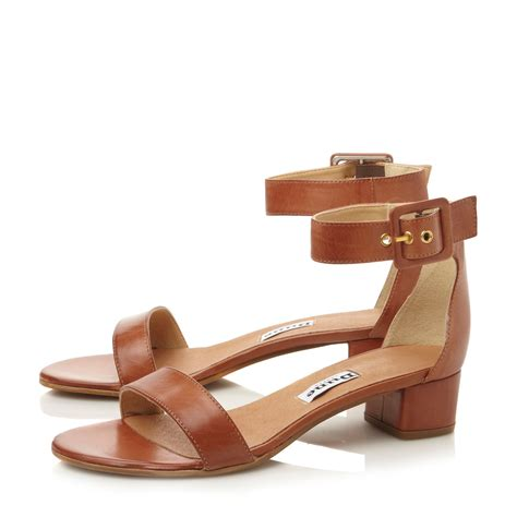 brown two sandals lyst dune fran leather block heel two part sandals in brown