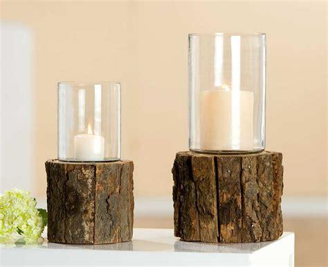 kerzenhalter baumstamm das rustikale windlicht mit baumrinde und glas