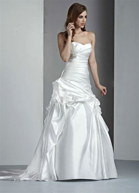 Satin Wedding Dresses by Satin A Line Strapless Wedding Dresses Ideal Weddings